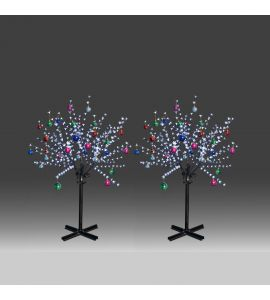 2x 150cm 360L twinkle burning LED tree light with white plum blossoms and hanging ornament set