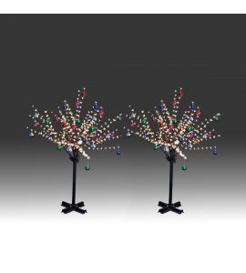 2x 150cm 360L steady burning LED tree light with golden plum blossoms and hanging ornament set