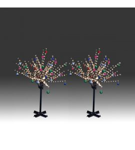 2x 150cm 360L twinkle burning LED tree light with golden plum blossoms and hanging ornament set