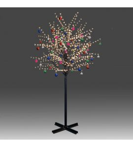 Beautiful 250cm 800L steady burning LED tree light with golden plum blossoms and hanging ornament set