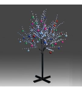 Beautiful 200cm 504L twinkle burning LED tree light with white plum blossoms and hanging ornament set