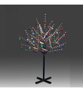 Beautiful 200cm 504L steady burning LED tree light with golden plum blossoms and hanging ornament set