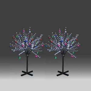 2x 150cm 360L steady burning LED tree light with white plum blossoms and hanging ornament set