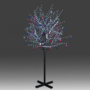 Beautiful 250cm 800L steady burning LED tree light with white plum blossoms and hanging ornament set