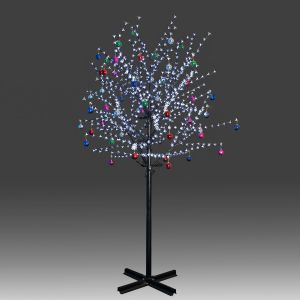 Beautiful 250cm 800L twinkle burning LED tree light with white plum blossoms and hanging ornament set