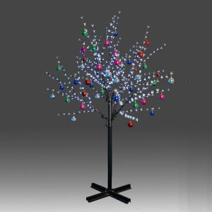 Beautiful 200cm 504L steady burning LED tree light with white plum blossoms and hanging ornament set