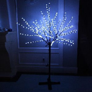 GBK Beautiful 200cm 360L steady burning LED tree light with white plum blossoms and leaves for Christmas and other holiday decorations