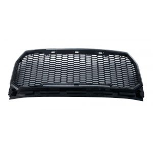 GBK 15-16 Ford F150 Polished Black Mesh Grille Shell, Complete Factory Replacement Grille Shell