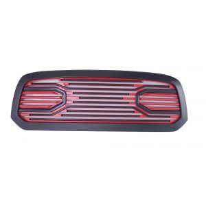 GBK 13-16 Dodge Ram1500 Front Grille W/ Red High-Gloss Base and Black Frame